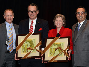 David Odahowski and Sherry Magill were honored for playing an instrumental leadership role in founding Florida Philanthropic Network (l-r: David Biemesderfer, FPN President & CEO; David Odahowski, Sherry Magill, Steve Marcus, President & CEO of Health Foundation of South Florida and fellow FPN co-founder)
