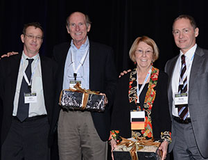 At its 2013 Statewide Summit on Philanthropy, FPN honored Joe Clark (second from left) and Jane Soltis (second from right) of the Eckerd Family Foundation for 15 years of philanthropic leadership. Honoring them were Jake Short from the Eckerd family's next generation (l.) and David Biemesderfer, FPN President & CEO (r.).