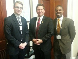 Florida Philanthropic Network's Christopher Johnson (R) and Jessie Ball duPont Fund's Jordan Kinser (L) meet with Congressman Ron DeSantis to discuss the role of philanthropy in his district and across the state of Florida.