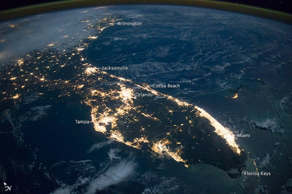 Florida at night from space.