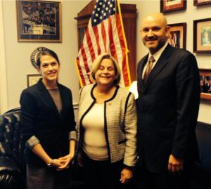 Congresswoman Ileana Ros-Lehtinen (ctr) voiced her support for philanthropy in a meeting with Javier Soto with The Miami Foundation and Maria Wrabel with the Jessie Ball duPont Fund.